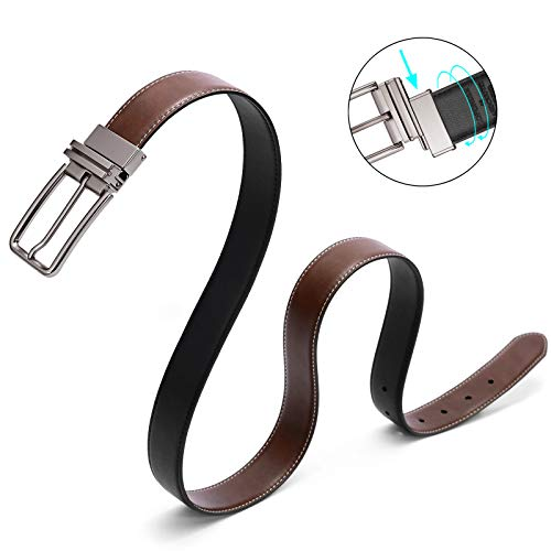 Mens Belt,Reversible Leather Belts for Men Patented in USA New Rotated Buckles Designer Dress Belts Big and Tall SOPONDER