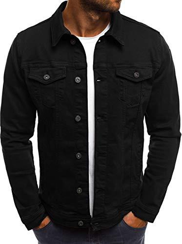 Hakjay Men's Unlined Denim Jacket Slim Fit Jeans Coat Long Sleeve Outerwear ()