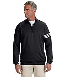 Adidas A190 Mens Climalite 3-stripes Pullover - Black & White, Xl