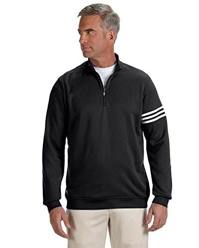 adidas Mens Climalite 3-Stripes Pullover (A190) -Black/Whit -L (Adidas Golf Mens Climalite 3 Stripes Pant)