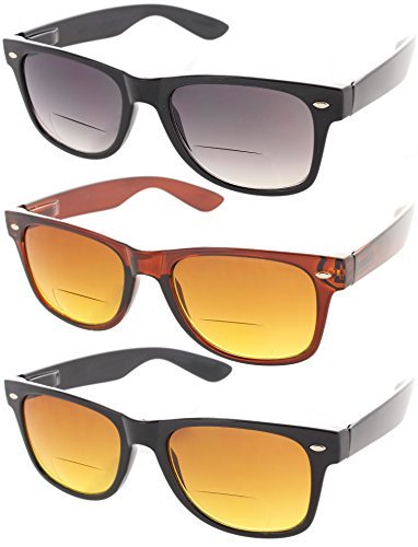Fiore Cabo 3 Pack Wayfarer Bifocal Sunglasses UV400 - Bridge Glasses Distance