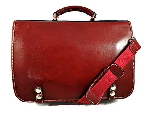 Leather shoulder bag messenger rigid bag ladies mens handbag leatherbag satchel carry on red crossbody business executive bag by ItalianHandbags