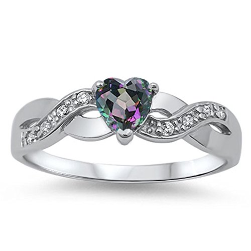 Heart Rainbow Simulated Topaz Infinity Knot Promise Ring 925 Sterling Silver Size 7 (Silver Infinity Knot Ring)