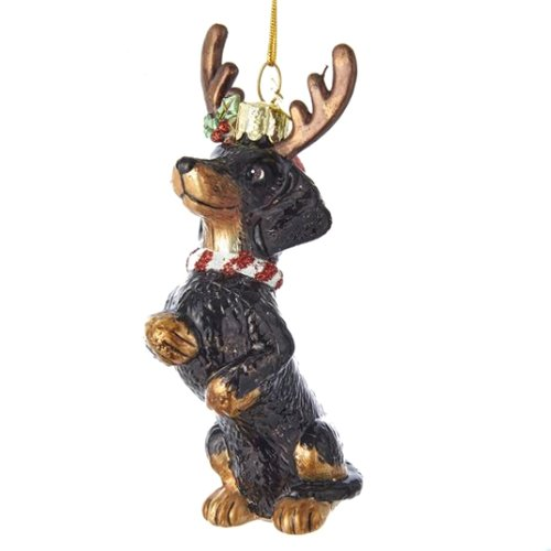 Noble Gems Dachshund with Antlers Glass Ornament