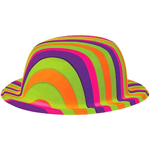 Feeling Groovy Green Adult Costumes (Groovy 60's Party Rainbow Stripes Bowler Hat Accessory, Plastic, 10