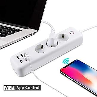 Regleta Inteligente enchufes controlados individualmente protección de sobrecarga APP remota Control por Voz Temporizador Programador Funciona con Alexa Google Assistant IFTTT Android IOS Wifi 2,4 GHz