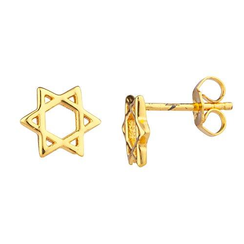 Lux Accessories Gold Tone Star Of David Jewish Mini Cutout Star Stud Earrings