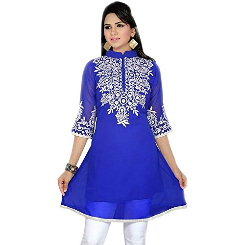 Jayayamala White Thread Embroidery Plus Size Women Blue Tunic Top (XL)