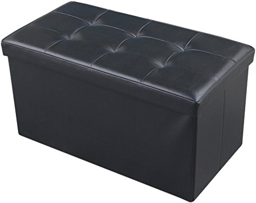 JAF Home Bedroom Faux Leather Folding Storage Ottoman Bench Foot Rest Black Color 30x15x15 Inch