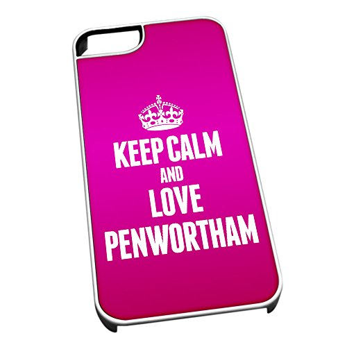Bianco cover per iPhone 5/5S 0490Pink Keep Calm and Love Penwortham