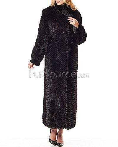 Frr Black Full Length Chevron Textured Mink Fur Coat - Large - Full Length Womens Mink Coat