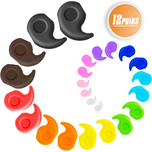 YR 12 Pairs Candy Colors Kids & Adults Silicone Eyeglasses Temple Tips Sleeve Retainer, Anti-slip Comfort Sport Eyeglass Strap Holder, 12 Colors Eyewear Retainer