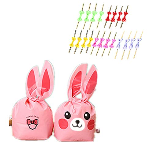 20Pcs of Children's Birthday, Halloween Candy, Gift Wrapping, Cute Rabbit Plastic Bag for Gifts, Candy, Small Toys, Chocolate, Ornaments, Hair Clips, Food, Biscuits (9)]()