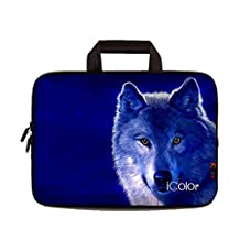 "iColor Cool Wolf 9.7"" 10"" 10.1"" 10.2"" Tablet Laptop Neoprene Carrying Bag Sleeve Briefcase Pouch Handle Bag Tote for iPad Air, Kindle Fire HD 10, Lenovo Yoga book, 10.1 Toshiba Encore 2, PolaTab Q10.1, Dell Inspiron Mini 10 IHB10-13"