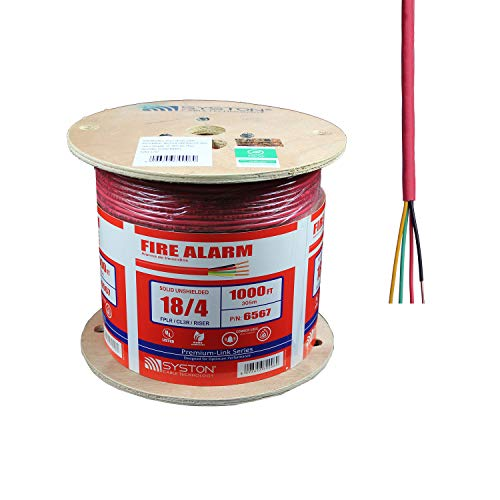 (18/4 Solid Unshielded, Fire Alarm Cable, UL FPLR/CL3R/FT4, 18AWG 4 Pure Copper Conductors, Indoor/Outdoor UV Resistant RoHS Red 1000ft Spool)