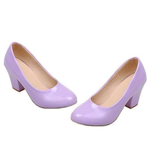 Pull Toe Round Shoes Patent Purple On WeenFashion Women's Heels Pumps Kitten Leather qX7ntY