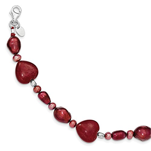 Lex & Lu Sterling Silver Red Jade Hearts/Freshwater Cultured Pearl Bracelet 7.5