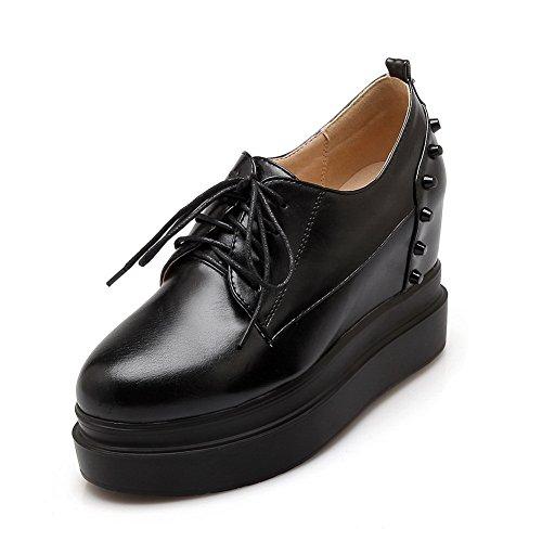 BalaMasa Girls borchie rivetto lace-up imitato in pelle pumps-shoes, Nero (Black), 35 EU