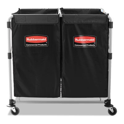 - Rubbermaid 1881750 Collapsible X-Cart Steel Eight Bushel Cart 24 1/10w x 35 7/10d Black/Silver