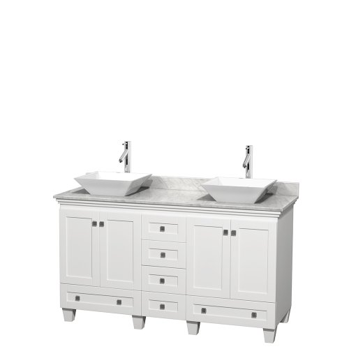 Wyndham Collection Acclaim 60 inch Double Bathroom Vanity in White, White Carrara Marble Countertop, Pyra White Sinks, and No Mirrors