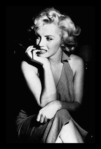 Professionally Framed Marilyn Monroe Movie (Sitting) Poster Print - 24x36 with RichAndFramous Black Wood Frame