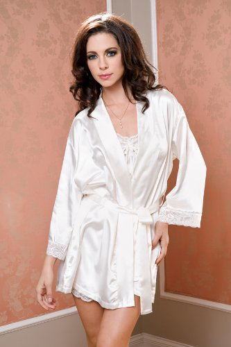 0a865c7ffc7 Image Unavailable. Image not available for. Color  Bridal Lingerie Ivory  Satin Robe with Lace Trim