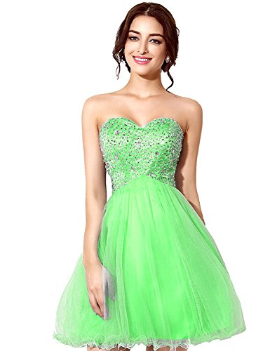 Sarahbridal Women Beaded Cocktail Homecoming Dress 2019 Short Sweetheart Tulle Prom Gown Green US2