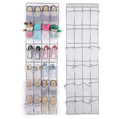 Cinhent Bag 24 Pocket Space Saver Door Hanging Organizer Rack Wall Shoes Sandals Toys Storage Bag Closet Holder Home or Student Dormitory Use (White) (Rack Mini Luggage)