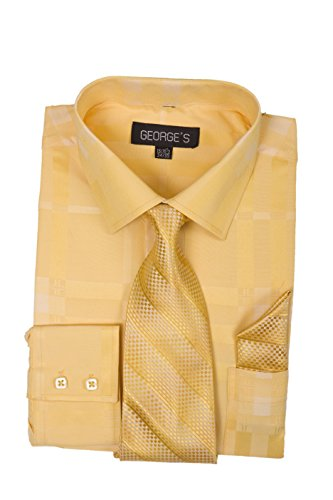 (George's Geometric Pattern Fashion Dress Shirt With Woven Tie Set AH623 Gold-17-17)
