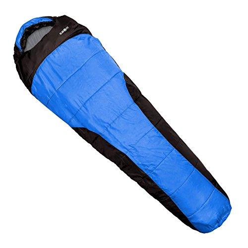 Klarfit Gullfoss Camping Schlafsack Outdoor Mumienschlafsack zum Zelten (kompakte Maße 23 x 40 x 23cm, mit Reißverschluss Einklemmschutz, warm bis minus 5 Grad, 1,5 kg leicht) blau