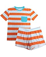 Aegean Apparel Girl's Stripe Printed T-Shirt & Shorts Jersey Knit PJ Set