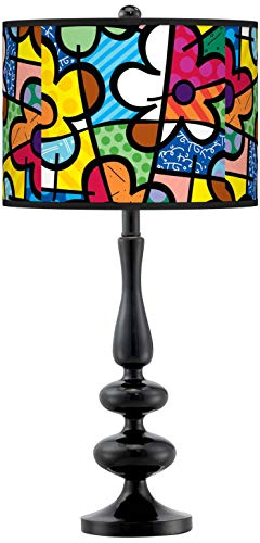 Britto Flowers Giclee Paley Black Table Lamp - Britto