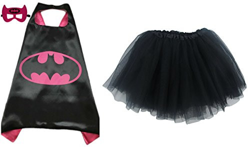 Superhero or Princess TUTU, CAPE, & MASK SET COMPLETE COSTUME - Kids Childrens Halloween (Batgirl - Hot Pink & Black)