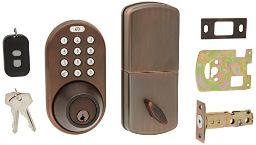 MiLocks XFK-02OB Digital Deadbolt Door Lock and Passage Knob Combo with Keyless Entry via Remote Control and Keypad Code for Exterior Doors, Oil Rubbed Bronze MiProducts Corporation