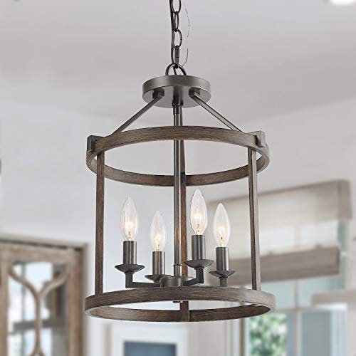 LNC A03406 4 Lights Chandelier, Brown