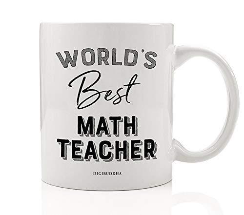 Worlds Best Math Teacher Coffee Mug Christmas Birthday Gift Idea Certified Mathematics Instructor Teaching Students Arithmetic Algebra Geometry Holiday