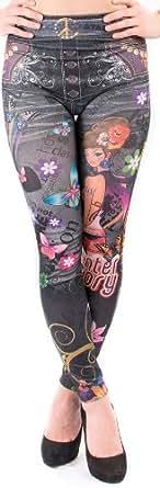 Ostenx Leggings para Mujeres con Dibujo de Flores, Mariposas Pantalones Elásticos (Gris)