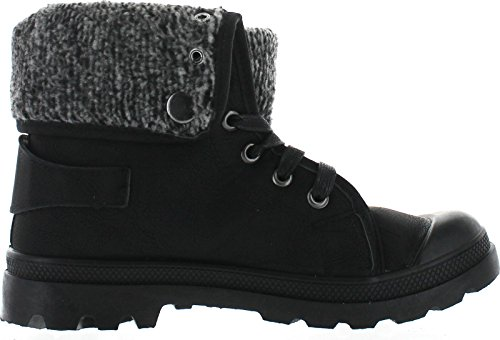 Refresh CASPER-02 Women's Knit Lace up Ankle Booties (Runs 1-1.5 Size Smaller) - stylishcombatboots.com