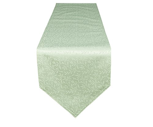 Lovein Olives Branches Green Pattern Table Runner,Heavy Weight Polyester Decorative Christmas Table Runners 13 By 108Inch