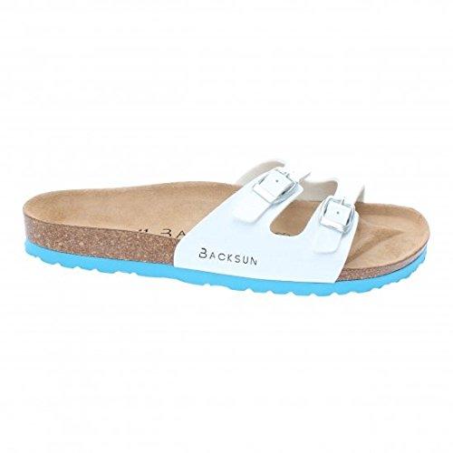 Backsun - Tongs / Sandales - Maldives Homme Blanc Vernis Semelle Bleu - Blanc