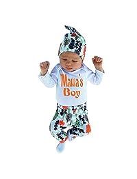 Perman 3pcs Newborn Baby Boy Christmas Romper Jumpsuit+Pants+Hat Outfit Set (0-3Months / 70CM, White)