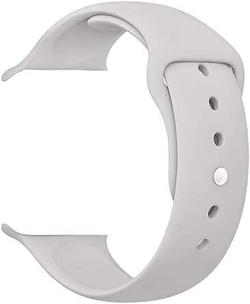 حزام ساعة بديل من السيليكون الناعم المتين للساعة الذكية 38 مم باللون الرمادي