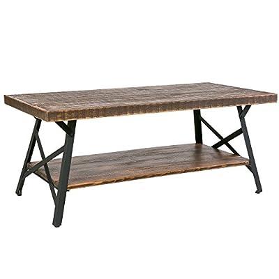Harper&Bright Designs Solid Wood Coffee Table Metal Leg