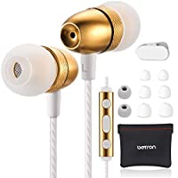 Betron ELR50 Earphones, in Ear Headphones with Mic and Remote Control, Noise Isolating Earbuds, Bass Driven Sound, Premium Audio Quality, Compatible with iPhone and Android Devices, Gold