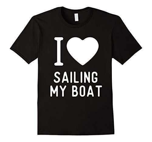Captain Black Heart (Mens Funny Boating T Shirts Gifts Boat Captains I Heart to Boat. 2XL Black)