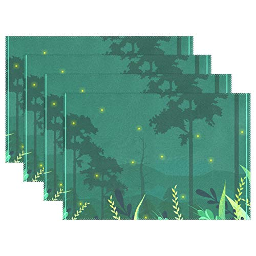 Ethel Ernest Lightning Bug Moonlight Heat-Resistant Placemats, Polyester Tablemat Place Mat for Kitchen Dining Room 1 Piece