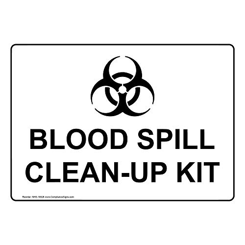 Blood Spill Clean-Up Kit Label Decal, 5x3.5 in. 4-Pack Vinyl for Facilities by ComplianceSigns (Spill Kit Sticker)