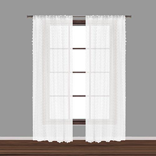 (Bathroom and More Collection Set of Two (2) SHEER Window Curtain Panels: White 3-D Small Soft Tufts Design. 84in Long Each (Panel Pair (2) 84