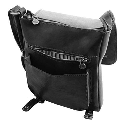 Tuscany Leather - Roby - Sac pour homme en cuir avec boucles - Noir