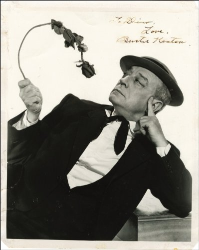 BUSTER KEATON AUTOGRAPH GLOSSY PHOTO PRINT APPROX SIZE 12X8 INCHES